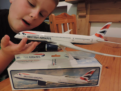 collectible plastic boeing 787 model plane from i360 brighton gift shop