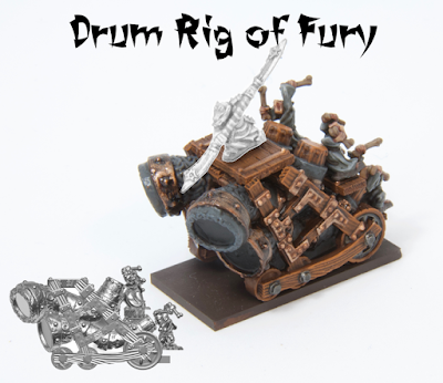 "Unit consists of a single ""Drum rig of fury"" - without general. Lead-free pewter, supplied unpainted and without base."