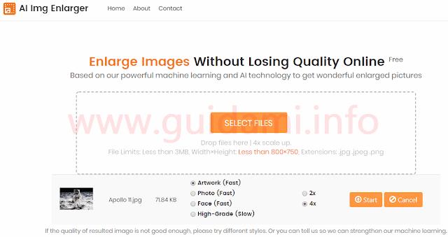 AI Img Enlarger pagina web del servizio
