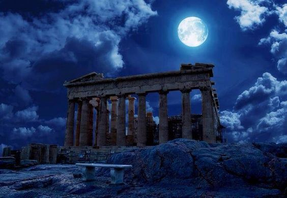 Full moon over The Acropolis Athens, Greece