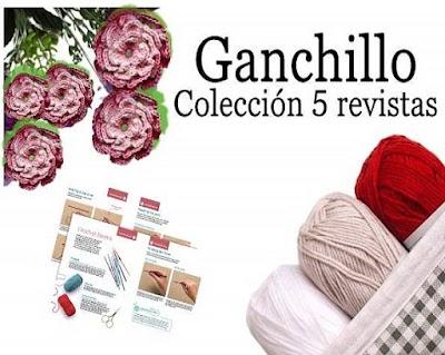5 Revistas de Ganchillo colección guías de puntos