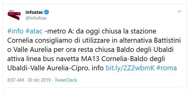 Situazione del trasporto pubblico di Roma di lunedì 30 dicembre