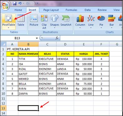 Latihan Soal Excel Pivot Tabel