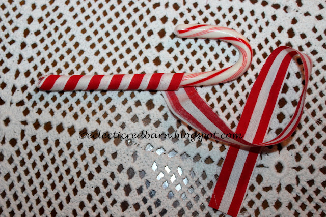 Eclectic Red Barn: Wrapping Fabric on Candy Canes