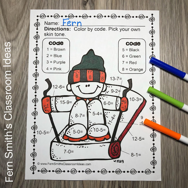 Winter Color By Number Addition, Subtraction, Multiplication, and Division Winter Themed Printables #FernSmithsClassroomIdeas