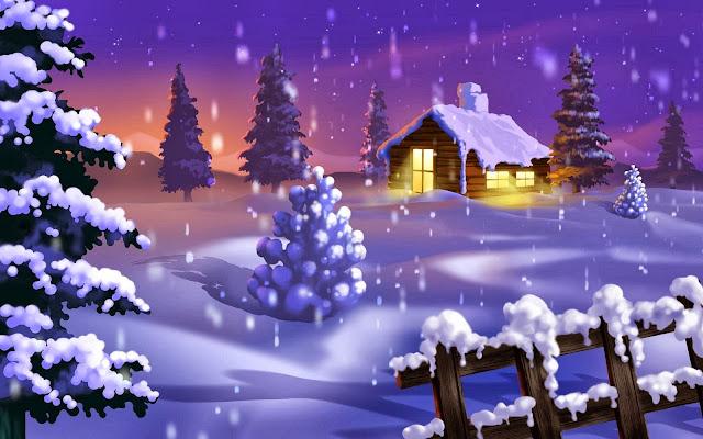 Kerst afbeelding met huis in de sneeuw