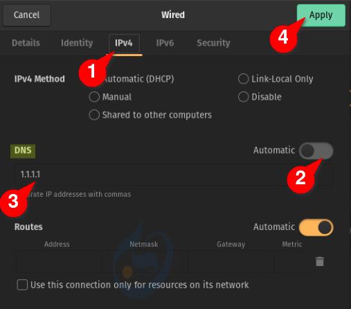 إعداد DNS الخاص بخدمة Cloudflare على Gnome