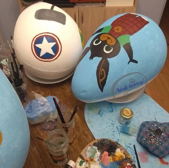 Adzik tworzy - ręcznie malowane jaja ze styropianu postacie z bajek