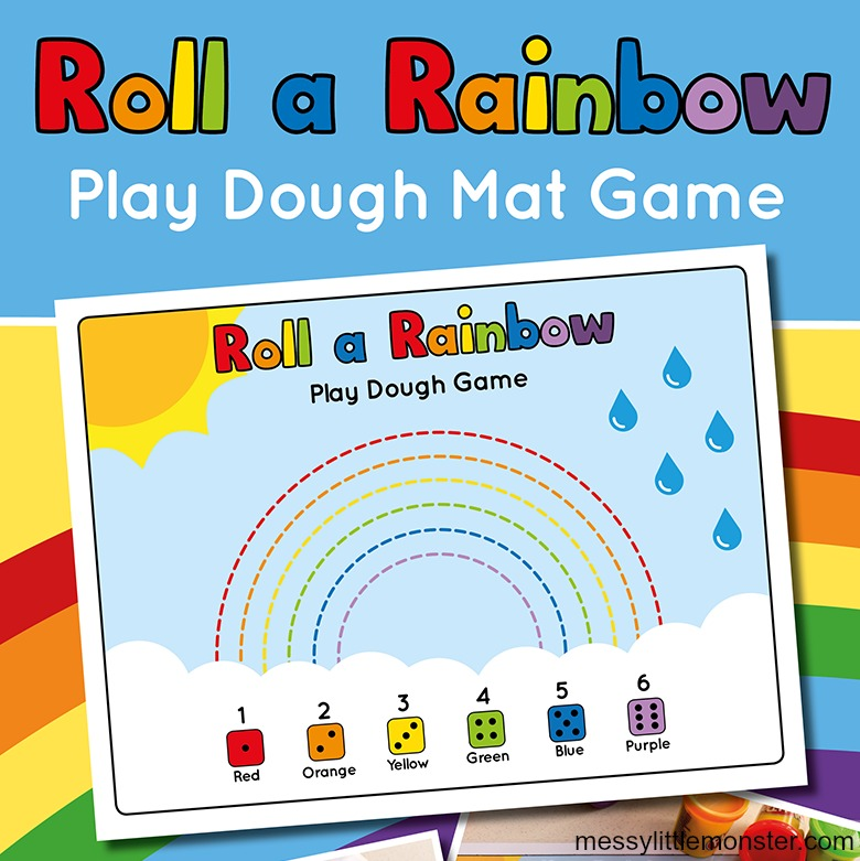 printable games for kids - rainbow playdough counting game