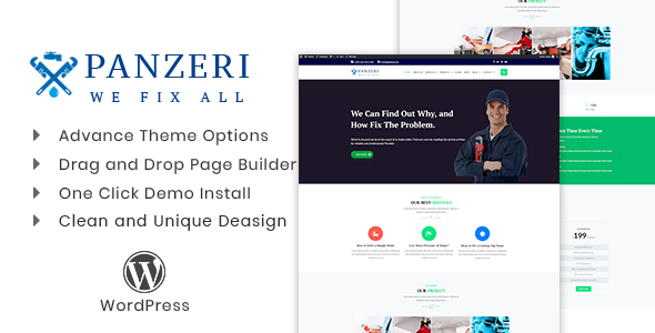 Panzeri WordPress Theme is a professional person in addition to premium WordPress subject for plumber in addition to repa Panzeri v1.0 – Plumber, Repair Services Theme Download