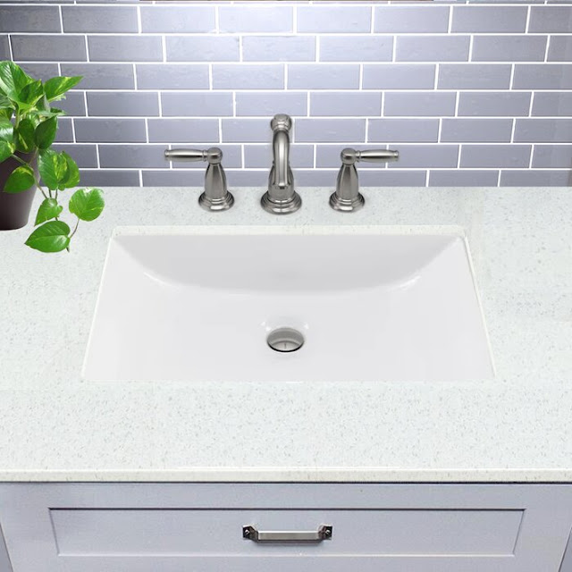 UM-16x11-W Great Point Ceramic Rectangular Undermount Bathroom Sink with Overflow