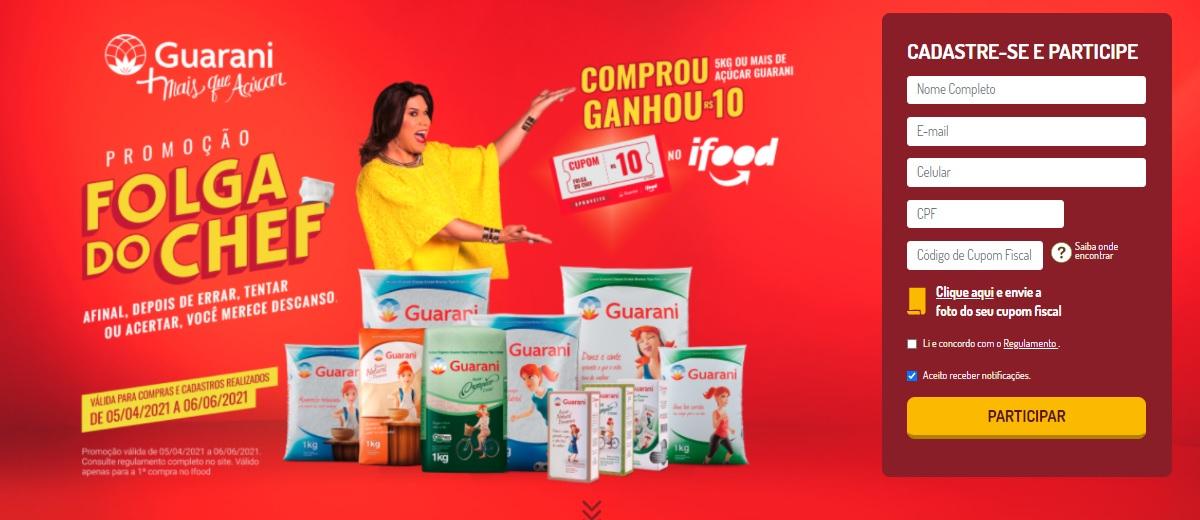 Folga do Chef Promoção Açúcar Guarani 2021 Comprou Ganhou 10 Reais Ifood