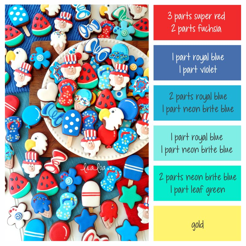Brightly colored 4th of July chocolate sugar cookies and frosting/icing color formulas for red, blue, and Statue of Liberty green