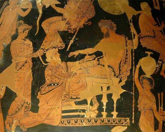 Crise che tenta di riscattare sua figlia Criseide da Agamennone, che era un tipo di incidente che sembrava accadere ai potenti re greci tutto il tempo.