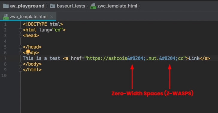 zero-width spaces email phishing