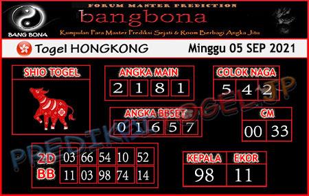Prediksi Bangbona HK Minggu 05 September 2021