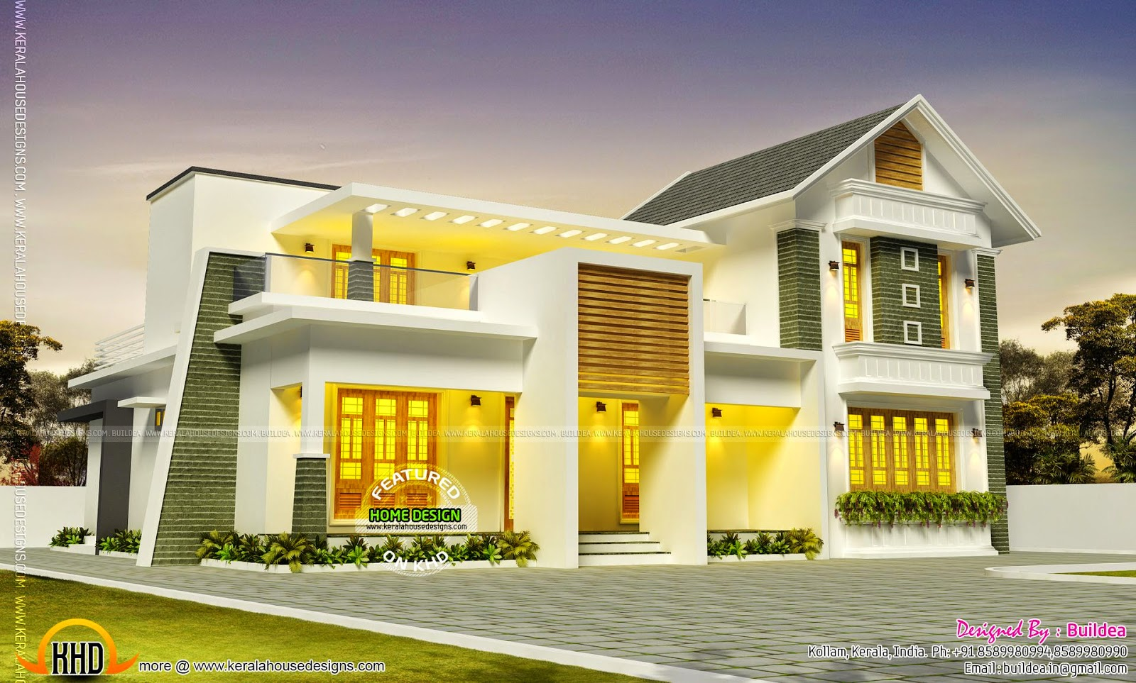 Beautiful house design in kollam kerala home design and for Beautiful home front design