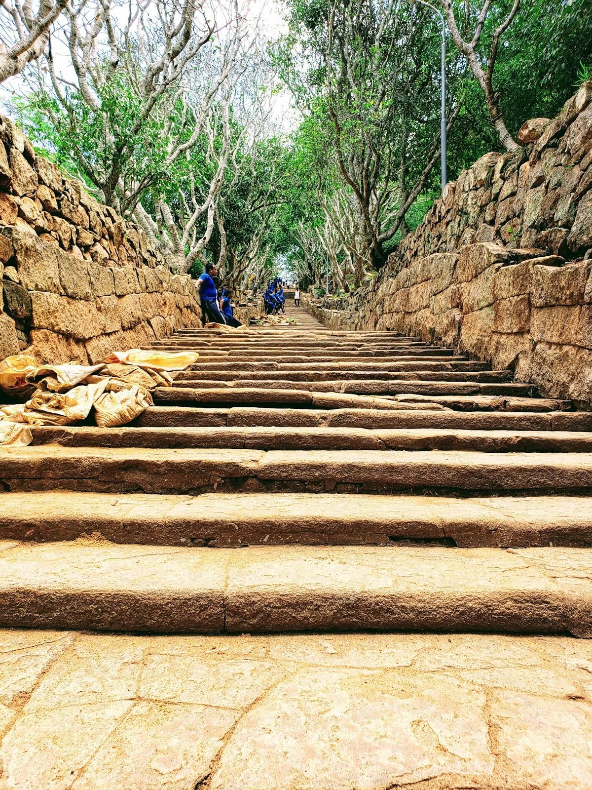 मिहीनताले मंदिर की तरफ जाती हुईं सीढ़ियां