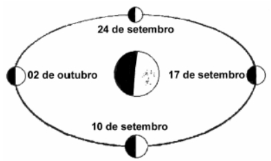 A figura representa as fases da lua no período proposto