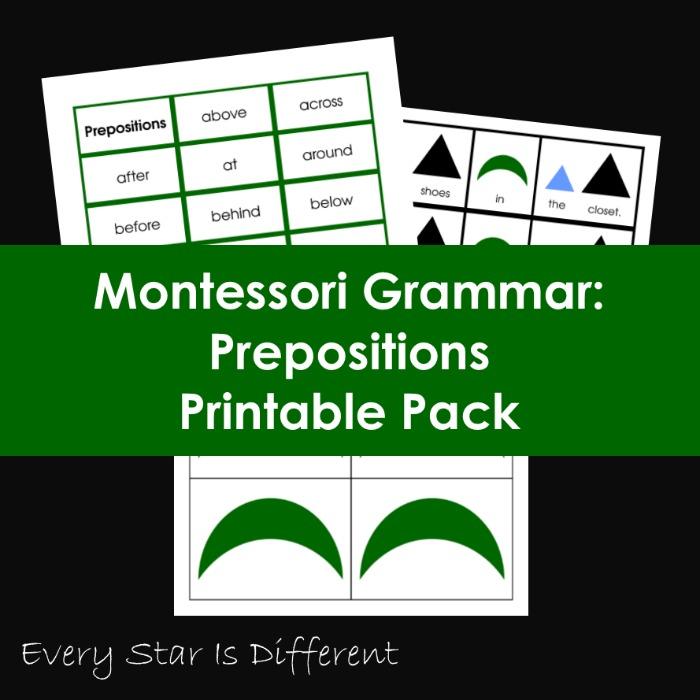 Montessori Grammar: Prepositions Printable Pack