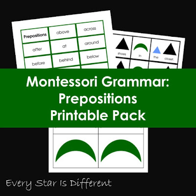 Montessori Grammar: Prepositions Printable Pack