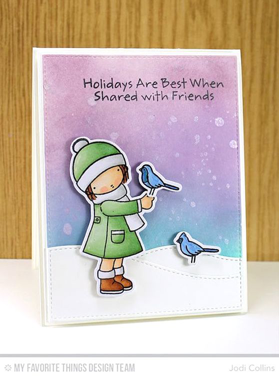 Handmade card from Jodi Collins featuring Pure Innocence Season's Tweetings stamp set and Die-namics, and Stitched Snow Drifts Die-namics #mftstamps