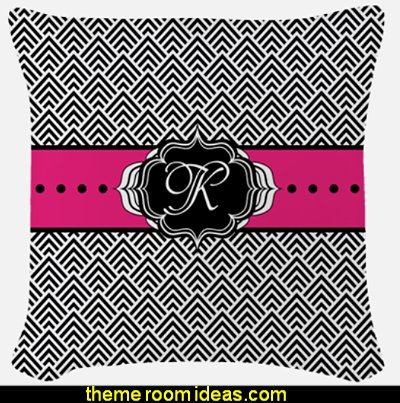 Hot Pink Black and White Chevron Monogram Woven Throw pillow