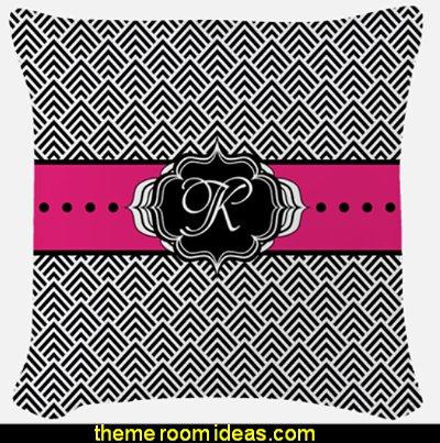 Hot Pink Black and White Chevron Monogram Woven Throw pillow