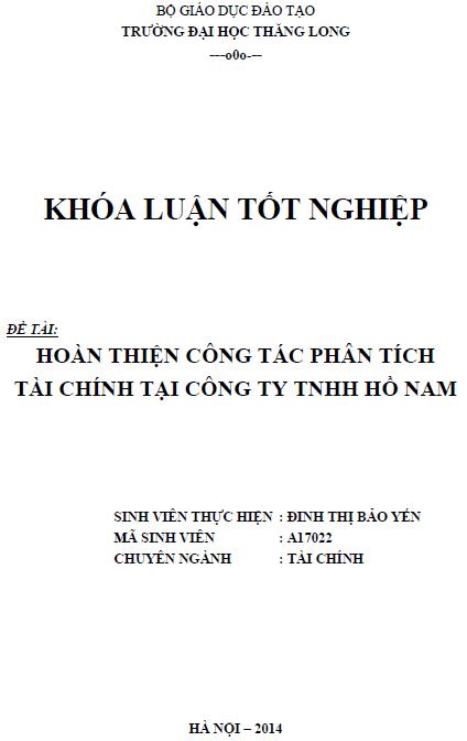 Hoàn thiện công tác phân tích tài chính tại Công ty TNHH Hồ Nam