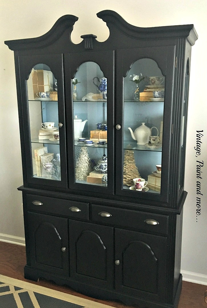 painted gray custom original cabinet with charcoal china hutch vintage interior