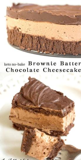 No Bake Brownie Batter Chocolate Cheesecake