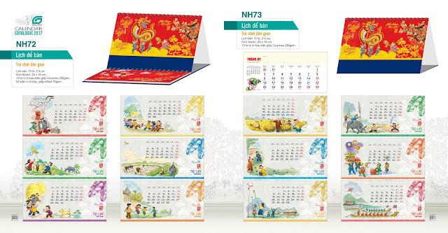 Mẫu lịch bàn NH72, NH73, Lịch trò chơi dân gian