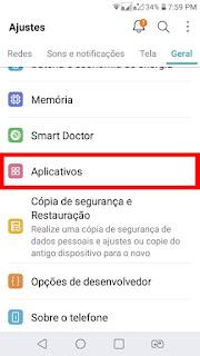 Abra suas configurações e vá em aplicativos