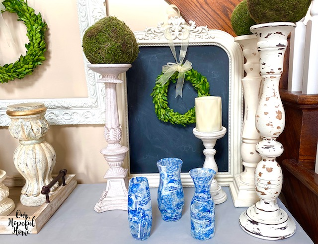 altar candlesticks boxwood wreath ornate chalkboard chinoiserie vases