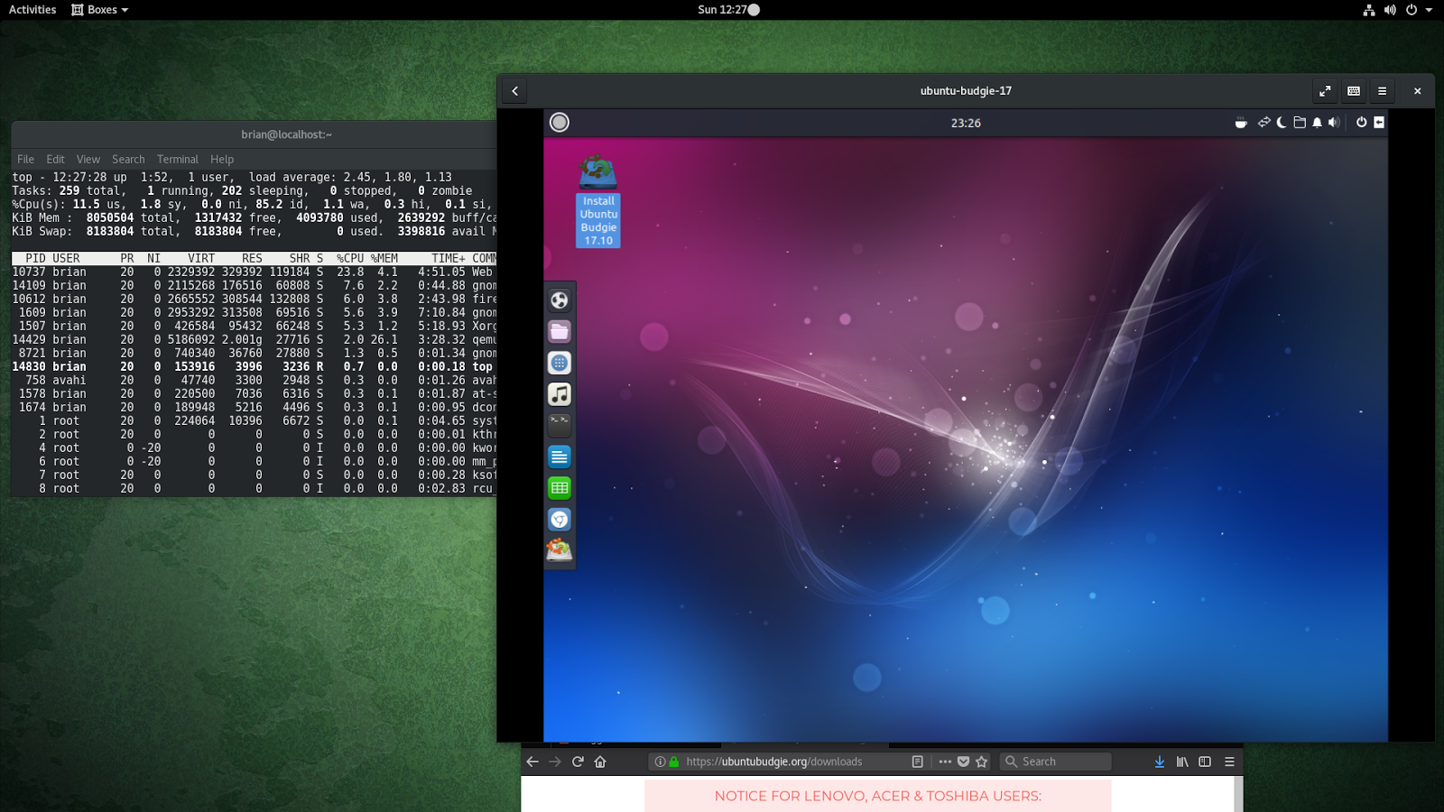 Notes on Gnome Boxes (Fedora 26 Workstation) Part 1