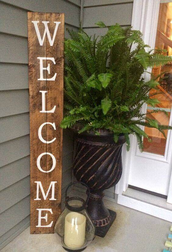 Welcome Sign on Reclaimed Wood