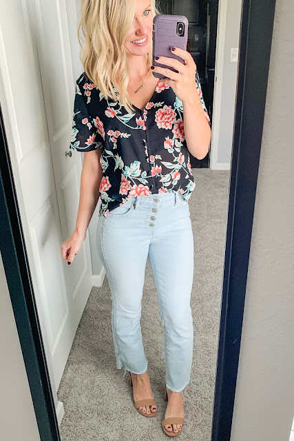How to Style a Floral Top for Fall || Button fly cropped flare jeans