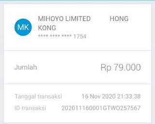Detail transaksi aplikasi Jenius