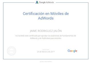 Certificado Jaime Rodríguez Jalón y Olea Google AdWords Móviles
