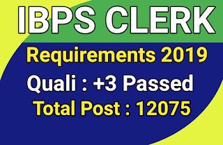 IBPS Clerk Recruitment 2019 : 12075 Posts For Clerk