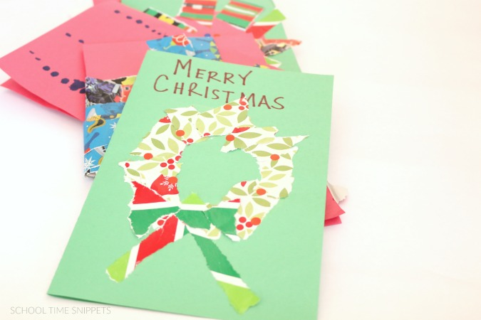 Easy, Kid-Made Christmas Cards School Time Snippets