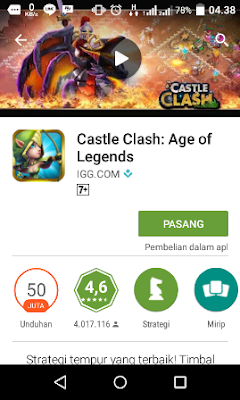 review game pesaing COC Castle clash download di playstore