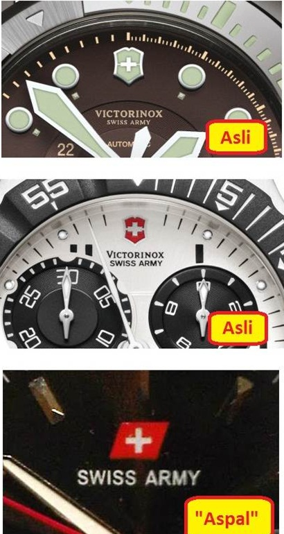 gambar Beda Jam tangan Swiss Army Asli / Ori dengan Palsu (KW)