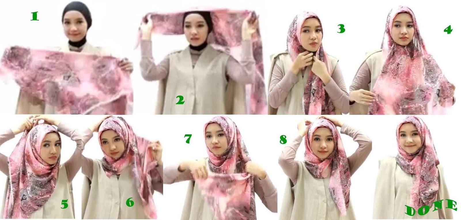 tutorial hijab kantor segi empat praktis - toturial hijab modern
