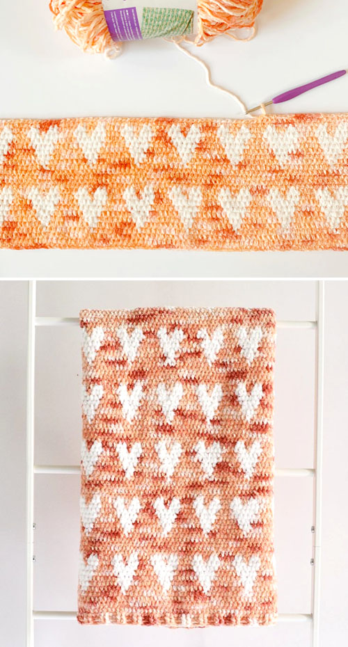 Crochet Crushed Velvet Hearts Blanket - Free Pattern