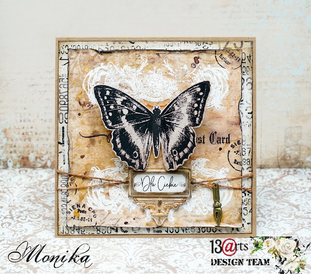 Urodzinowa kartka w stylu vintage dla 13arts/ Vintage birthday card for 13arts