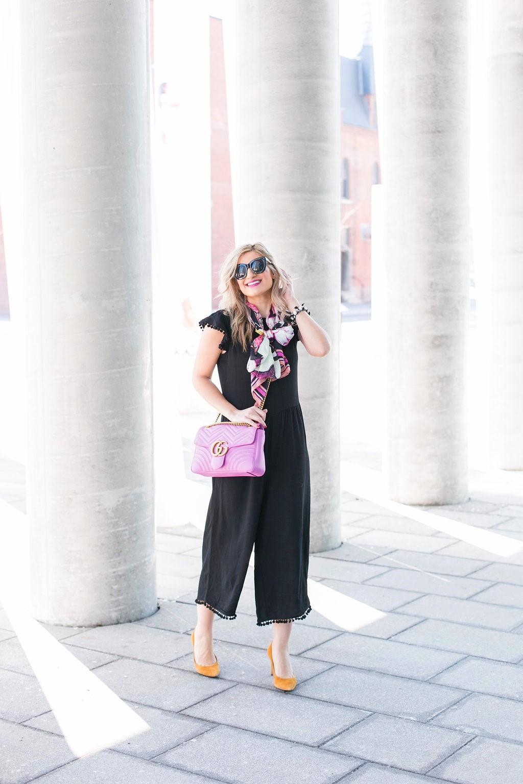 Bijuleni - GG marmont Matelasse Shoulder Bag, Zara Jumpsuit, Ted Baker big bow scarf