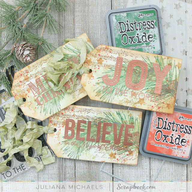 Christmas Tags by Juliana Michaels featuring Scrapbook.com Big and Bold Christmas Stamp Set