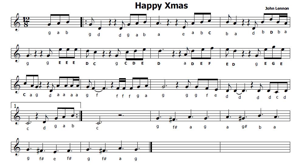 Conosciuto Musica e spartiti gratis per flauto dolce: Happy Xmas di John Lennon NF95