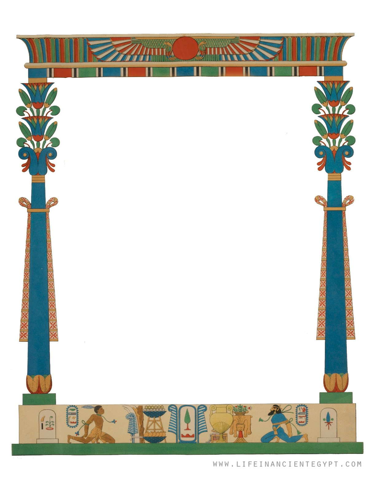 Free Printable Ancient Egyptian Clipart Frame For Page Borders Or Printable Stationery